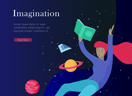 landing page templates set. Inspired People flying in space and reading online books. Characters moving and floating in dreams, imagination and freedom inspiration. Flat design, vector illustration. Banco de Imagens - 120199288