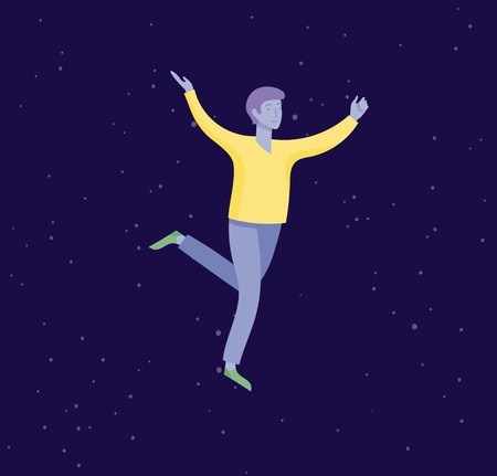 Inspired man flying in space. Character moving and floating in dreams, imagination and inspiration. Flat design style, vector illustration.