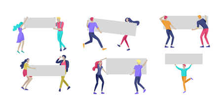 Business people moving, dancing and holding blank banner and stand. People taking part in parade or rally. Male and female protesters or activists. Modern vector illustration flat concepts character Banco de Imagens - 124031452