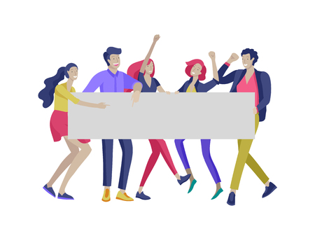 Business people moving, dancing and holding blank banner and stand. People taking part in parade or rally. Male and female protesters or activists. Modern vector illustration flat concepts character Standard-Bild - 124031455