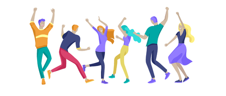 Jumping character in various poses. Group of young joyful laughing people jumping with raised hands. Happy positive young men and women rejoicing together, happiness, freedom, motion people concept. Çizim