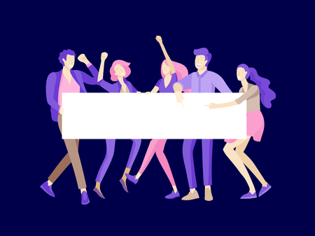 Business people moving, dancing and holding blank banner and stand. People taking part in parade or rally. Male and female protesters or activists. Modern vector illustration flat concepts character