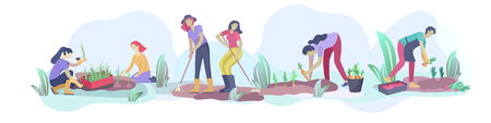 Harvesting and gardening people doing farming and garden job, pick berries, remove weeds, watering, planting, growing and transplant sprouts, lay ripe vegetables to box. Reaping crop concept Foto de archivo - 120199305