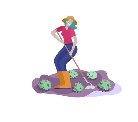 Harvesting and gardening people, woman doing farming and garden job, dig and remove weeds, planting, growing and transplant sprouts. Spring concept