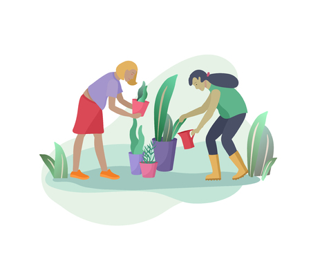 Harvesting and gardening people woman doing farming and garden job, remove weeds, watering, planting, growing and transplant sprouts. Spring concept