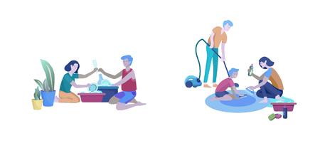 Scene con famiglia che fa i lavori domestici, coppia uomo e donna che puliscono la casa, lavano i piatti, puliscono tappeti e pavimenti, puliscono la polvere, aspirano. Stile cartone animato illustrazione vettoriale