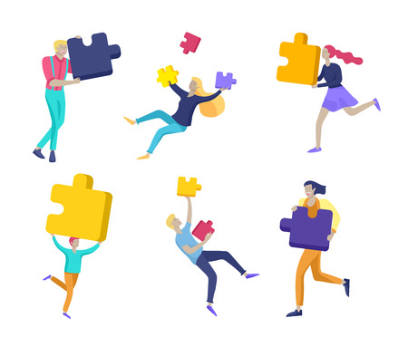 Vector character business people with infographic of puzzle have solution. Goal thinking. Cooperation by group to create a team. Concept for web design Colorful flat concept illustration. Illustration