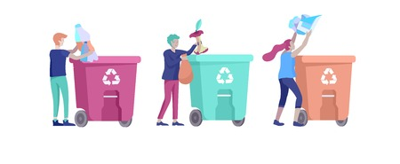 people Recycle Sort organic Garbage in different container for Separation to Reduce Environment Pollution. Man and woman collect garbage. Environmental day vector cartoon illustration  イラスト・ベクター素材