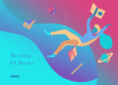 landing page templates set. Inspired People flying in space and reading online books. Characters moving and floating in dreams, imagination and freedom inspiration. Flat design, vector illustration. Illustration