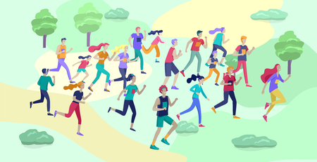 Ludzie Maraton Running Sport wyścig sprint, ilustracja koncepcja bieganie mężczyzn i kobiet noszących sportswer w krajobrazie. Bieganie na treningu. Zdrowe, aktywne ćwiczenia prędkości. Ilustracja kreskówka wektor