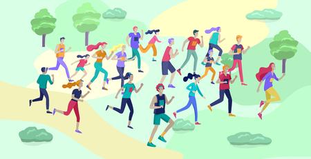 Menschen Marathon Running Sport Race Sprint, Konzeptillustration, die Männer und Frauen mit Sportswer in Landschaft läuft Joggen im Training. Gesunde aktive Geschwindigkeitsübung. Cartoon-Vektor-Illustration