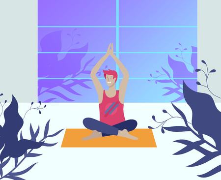 Young Man and woman meditate, sitting in yoga posture, performing aerobics exercise at home. Physical and spiritual practice yoga lesson. Mental health concept. Vector illustration cartoon
