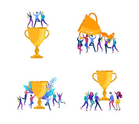 Illustrazione vettoriale di affari, team creativo di leadership, persone di successo in piedi con la tazza del vincitore Vettoriali