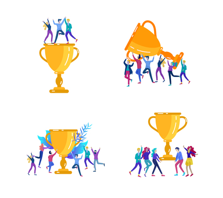 Vector business illustration, leadership creative team, successful people standing with winner cup
