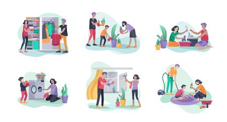Scene con la famiglia che fa i lavori domestici, bambini che aiutano i genitori a pulire la casa, lavare i piatti, piegare i vestiti, pulire finestre, tappeti e pavimenti, pulire la polvere, fiori d'acqua. Stile cartone animato illustrazione vettoriale