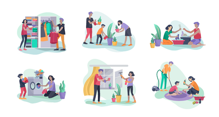 Scenes with family doing housework, kids helping parents with home cleaning, washing dishes, fold clothes, cleaning window, carpet and floor, wipe dust, water flower. Vector illustration cartoon style Çizim