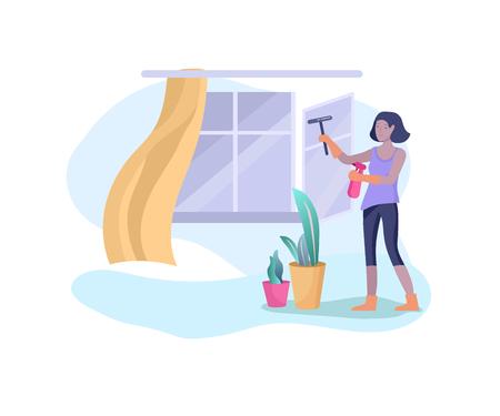 Szenen mit Famwoman, die Hausarbeit macht, Mädchen zu Hause putzt, Fenster wäscht und putzt, Staub abwischt. Vektorillustrations-Cartoon-Stil