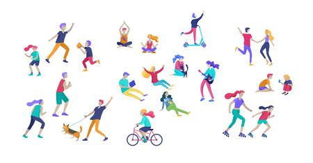 People Spending Time, Relaxing on Nature, family and children performing sports outdoor activities at park, walking dog, doing yoga, riding bicycles, tennis workout. Cartoon vector illustration