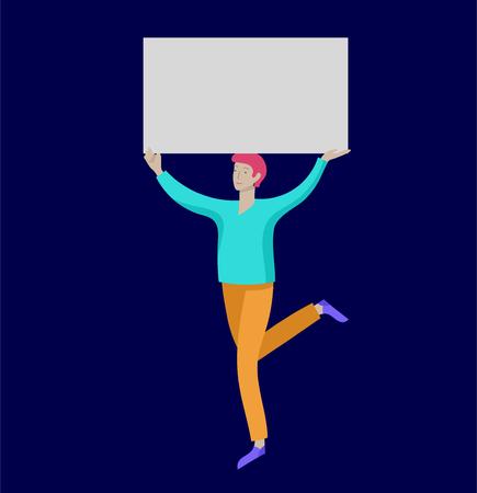 Geschäftsleute, die sich bewegen, tanzen und leere Banner halten und stehen Menschen, die an einer Parade oder Kundgebung teilnehmen. Männliche und weibliche Demonstranten oder Aktivisten. Moderne Vektor-Illustration flache Konzepte Charakter Vektorgrafik