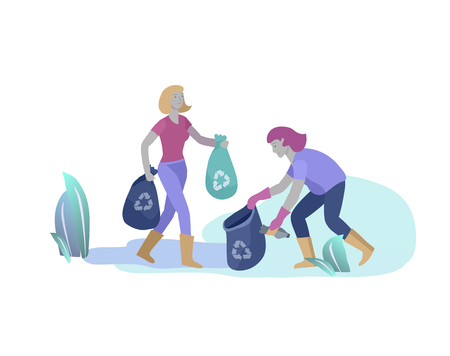 people Recycle Sort organic Garbage in different container for Separation to Reduce Environment Pollution. Woman collect garbage in bag or container. Environmental day vector cartoon illustration