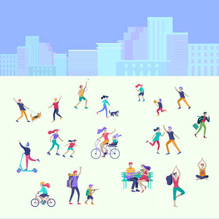 People Spending Time, Relaxing on Nature, family and children performing sports outdoor activities at park, walking dog, doing yoga, riding bicycles, tennis workout. Cartoon vector illustration Zdjęcie Seryjne - 124031575