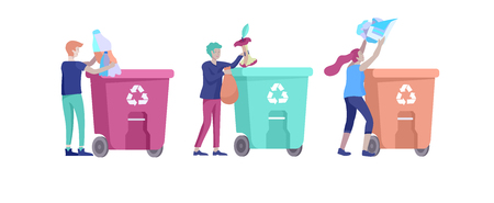 people Recycle Sort organic Garbage in different container for Separation to Reduce Environment Pollution. Man and woman collect garbage. Environmental day vector cartoon illustration Illusztráció