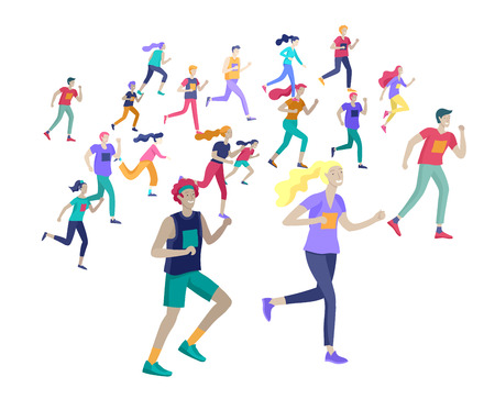 People Marathon Running Sport race sprint, concept illustration running men and women wearing sportswer in landscape. Jogging at Training. Healthy Active Speed Exercise. Cartoon Vector Illustration Иллюстрация