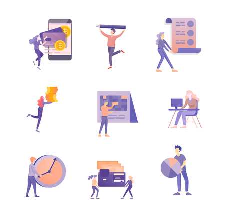 Office business people concept, management and administration. Character people planing, web desidn, businessmen discuss social network, news, social networks. Flat vector illustration.