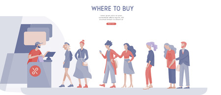 People queue in supermarket with cashier, where to buy concept of customer and shop assistant. Selling interaction, purchasing process. Creative landing page design template Vettoriali