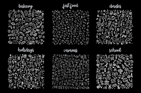 Ensemble d'icônes dessinées à la main et motif d'éléments. Illustration numérique, éléments de griffonnages de boulangerie, arrière-plan transparent de vacances. l'école et les boissons alcoolisées. Illustration sommaire de Fast-Food de vecteur