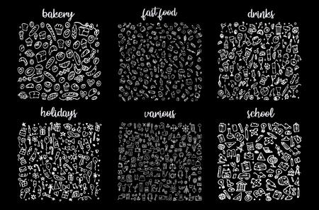 Handgezeichnete Icons Set und Elementmuster. Digitale Illustration, Bäckerei kritzelt Elemente, nahtloser Hintergrund der Feiertage. Schule und alkoholische Getränke. Vektor-Fast-Food-skizzenhafte Illustration
