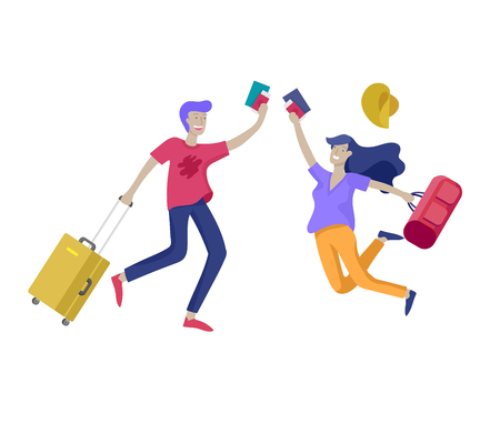 People travel on vacation. Tourists with laggage travelling couple and friends, go on journey. Travelers in various activity with luggage and equipment. Vector illustration