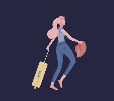 Tourist woman with laggage travelling alone, go on journey. Traveler in various activity with luggage and equipment. Vector illustration Illustration