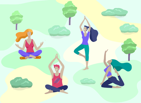 Young Man and woman meditate, sitting in yoga posture, performing aerobics exercise at park nature. Physical and spiritual practice yoga lesson. Mental health concept. Vector illustration cartoon