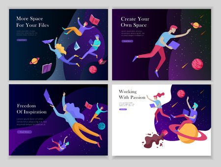 landing page templates set. Inspired People flying. Create your own spase. Characters moving and floating in dreams, imagination and freedom inspiration design work. Flat design style Illustration