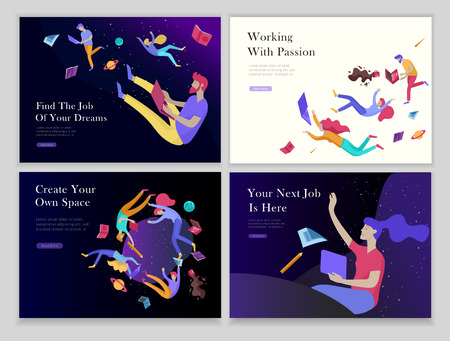 Job presentation banner page set. Inspired People flying, choose career or interview a candidate, agency human resources creative find experience. Characters find work of dreams, design illustration