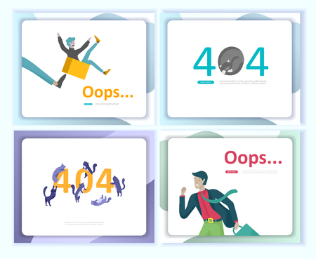 Set of Landing page templates Error page illustration with People characters and cat. Page not found. Vector concept illustration for 404 error with Funny cartoon workers