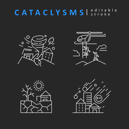 Cataclysms and natural disasters. Vector icon and logo. Editable outline stroke size. Line flat contour, thin and linear design. Simple icons. Concept illustration. Sign, symbol, element. Stock Vector - 124031716