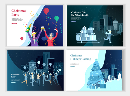 Set of Landing page template or greeting card. Friend or colleagues celebrates Merry Christmas, Happy New Year corporate party, girl to drag sleigh with lot gifts. Christmas tree on urban landscape