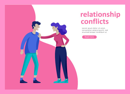 Landing page templates for psyhology mental problems, depression panic attacks, paranoia anger control, relationship family conflict, stress and misunderstanding, psychotherapy character Stock Vector - 124031740
