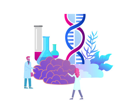 Neurology genetics concept. Flat style little people doctors medical team working, constructing DNA, researching Deoxyribonucleic acid. Brain, Creative mind, learning and design Landing page template. Illustration