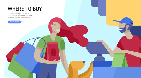 People Shopping in supermarket. Woman in supermarket with cashier, where to buy concept of customer and shop assistant. Selling interaction, purchasing process. Creative landing page design template