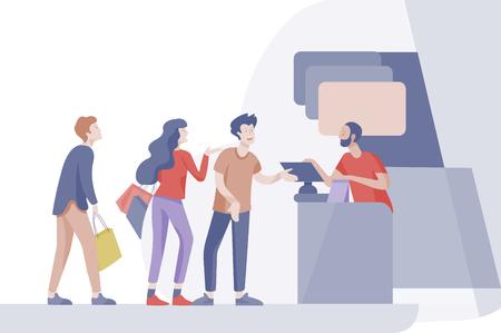 Les gens en colère font la queue dans un supermarché avec caissier, où acheter le concept de vendeur. Interaction de vente, processus d'achat. Un client insatisfait et fatigué crie et jure Vecteurs