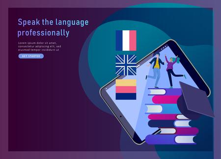 Modelli di landing page per corsi di lingua online, formazione a distanza, formazione. Interfaccia di apprendimento delle lingue e concetto di insegnamento. Concetto di educazione, formazione dei giovani. Studenti Internet Internet Vettoriali