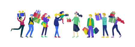 Happy Christmas Day Celebrating together happy. Group of cartoon people in Santa hats and children. Jump and throw gift. Merry Christmas and Happy New Year or birthday party family character. Illustration, vector Banque d'images - 124031811