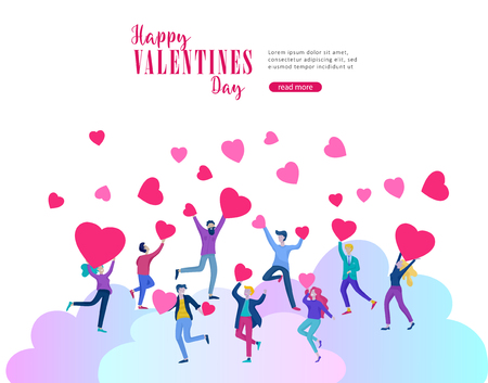Happy Valentines day cards template with couple and people in love isolated in heart on a colorful abstract background, typography poster elements, festive composition design, vector illustration