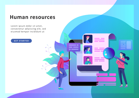 Concept Landing page template Human Resources and selection candidates, banner, presentation, social media. Recruitment for web page. Vector illustration filling out resumes, hiring employees Çizim