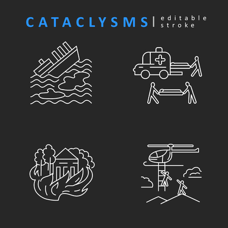 Cataclysms and natural disasters. Vector icon. Editable outline stroke size. Line flat contour, thin and linear design. Simple icons. Concept illustration. Sign, symbol, element.