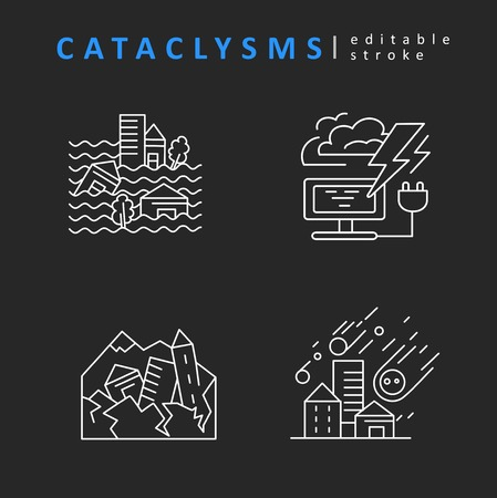 Cataclysms and natural disasters. Vector icon. Editable outline stroke size. Line flat contour, thin and linear design. Simple icons. Concept illustration. Sign, symbol, element. Stock Vector - 120199643