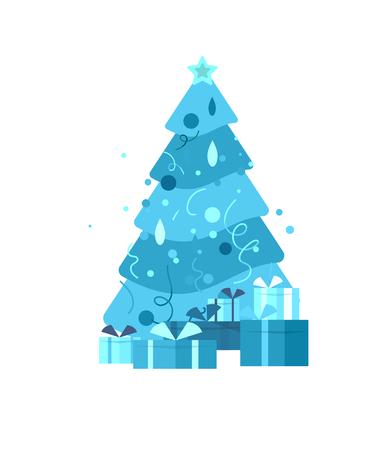 Vorlage Grußkarte Winterferien. Frohe Weihnachten und ein glückliches neues Jahr-Website mit Weihnachtsbaum und Geschenk im Hintergrund